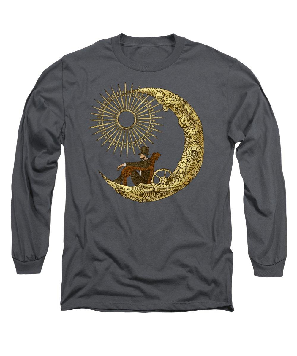 Blue Long Sleeve T-Shirt featuring the digital art Moon Travel by Eric Fan