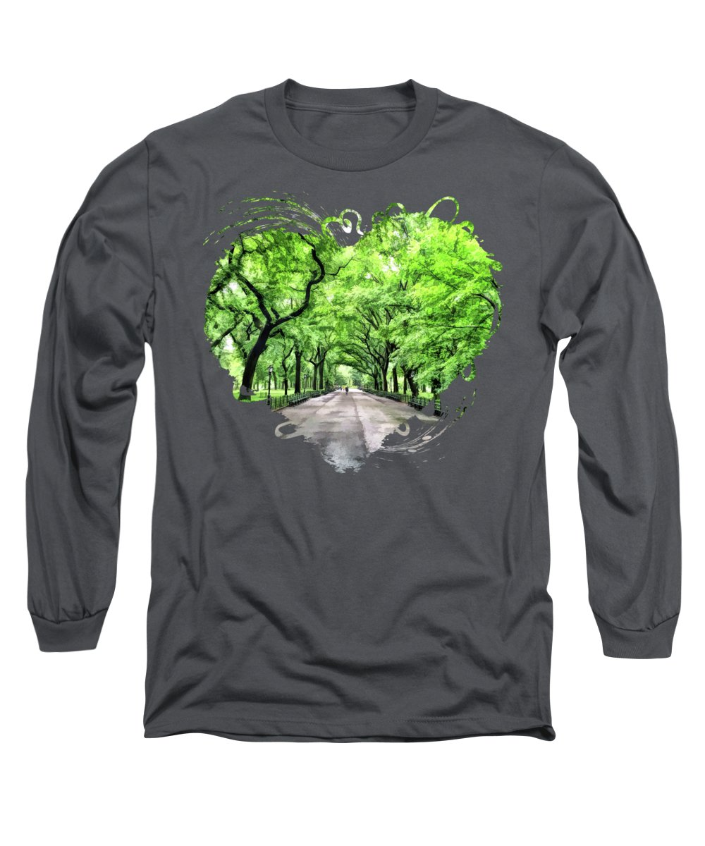 New York Long Sleeve T-Shirt featuring the painting New York City Central Park Mall by Christopher Arndt