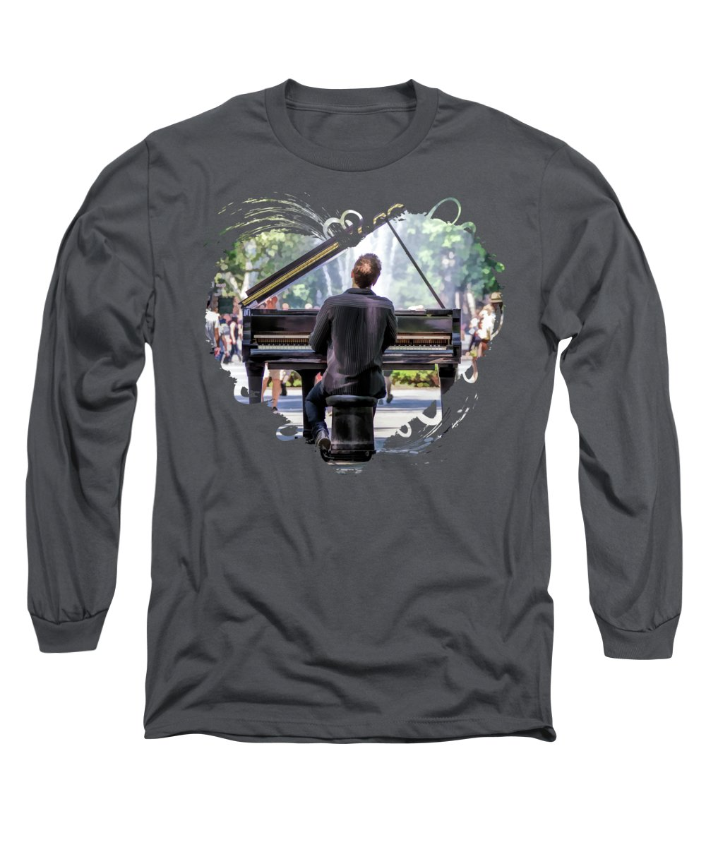 New York Long Sleeve T-Shirt featuring the painting New York City Washington Park Piano Player by Christopher Arndt
