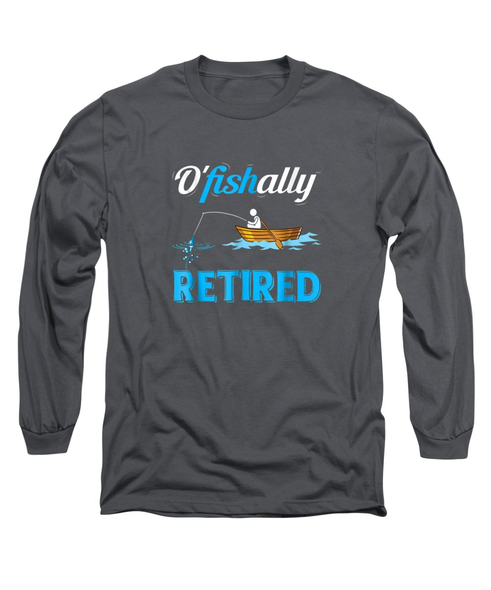 men's Novelty T-shirts Long Sleeve T-Shirt featuring the digital art Ofishally Retired Tshirt Funny Fisherman Retirement Gift by Do David