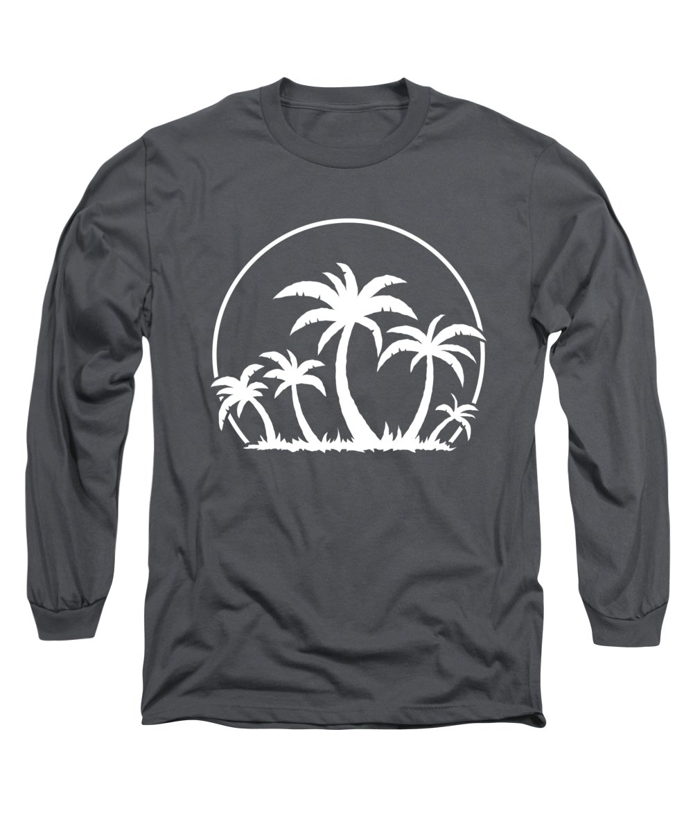Beach Long Sleeve T-Shirt featuring the digital art Palm Trees And Sunset in White by John Schwegel