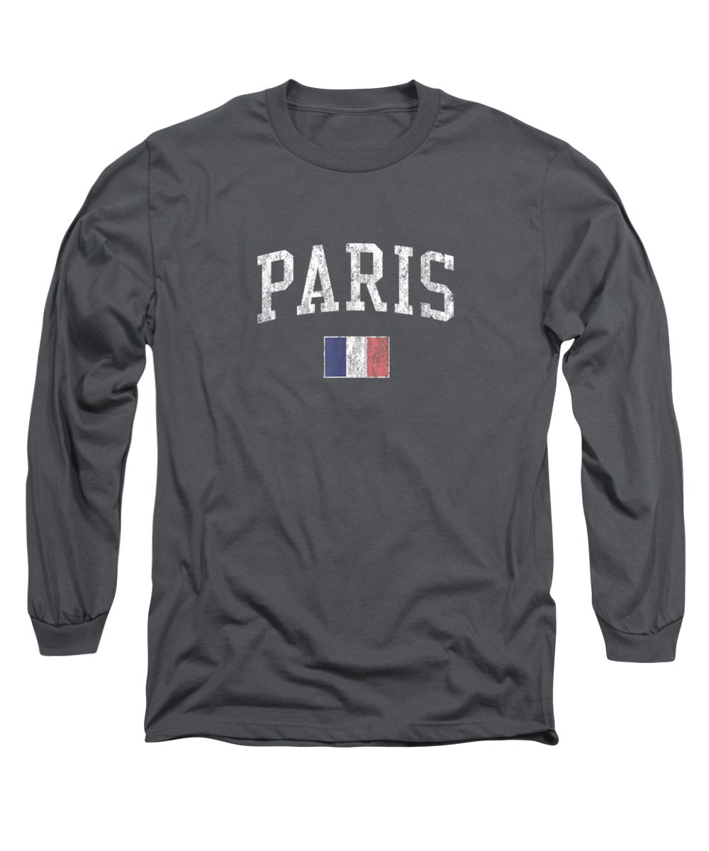 girls' Novelty Clothing Long Sleeve T-Shirt featuring the digital art Paris France T-shirt Vintage Sports Design French Flag Tee by Do David