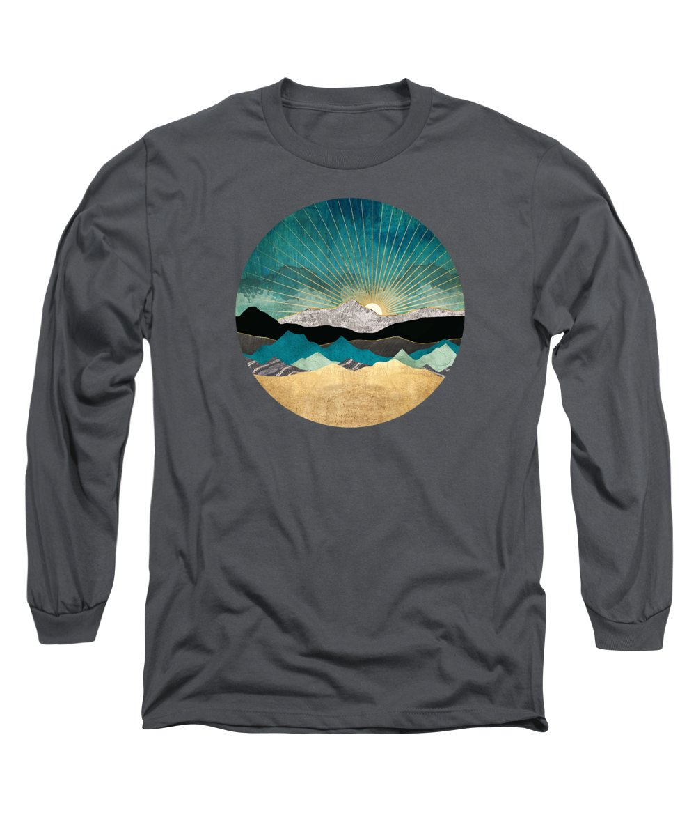 Blue Long Sleeve T-Shirt featuring the digital art Peacock Vista by Spacefrog Designs