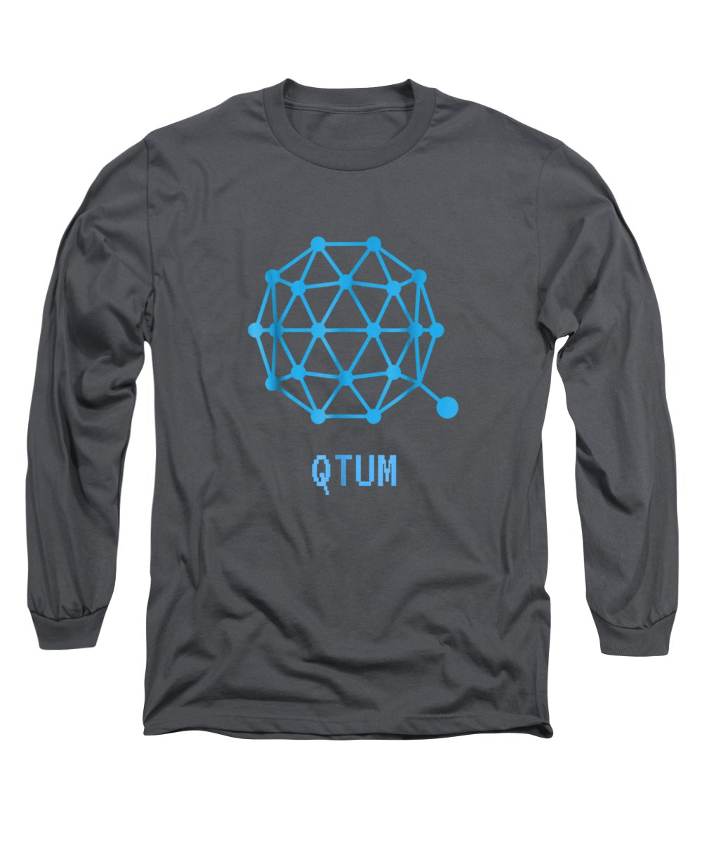men's Novelty T-shirts Long Sleeve T-Shirt featuring the digital art Qtum Cryptocurrency Crypto Tee Shirt by Unique Tees