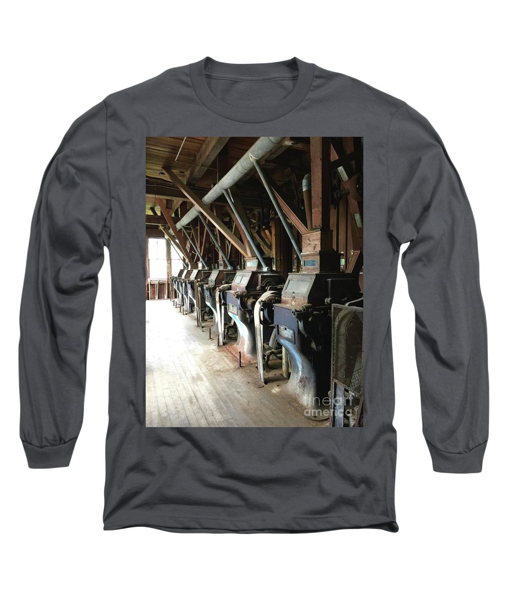 Patterson Milling Company Long Sleeve T-Shirt featuring the photograph Row Of Rollers by Megan Cohen