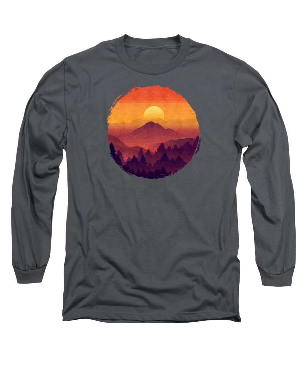 Painting Long Sleeve T-Shirt featuring the painting Sunset In The Misty Mountains by Little Bunny Sunshine