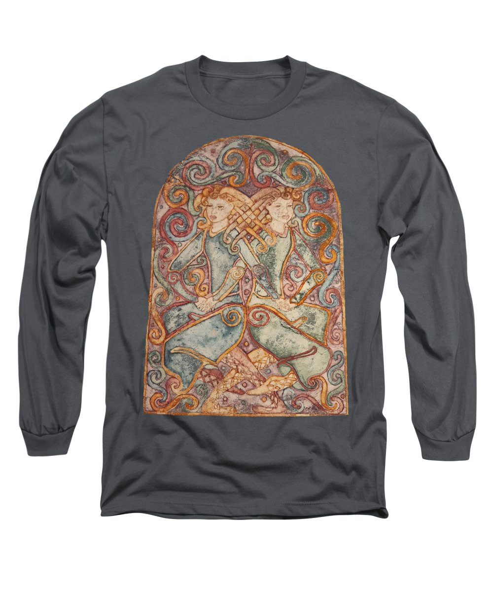 Celtic Goddess Long Sleeve T-Shirt featuring the mixed media The Two Suns by OOAKindred Studios