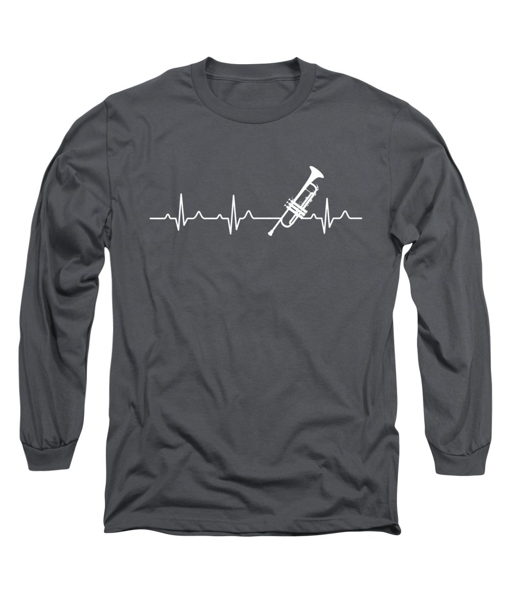 Trumpet Long Sleeve T-Shirt featuring the digital art Trumpet Heartbeat For Your Hobbie Tees by Unique Tees