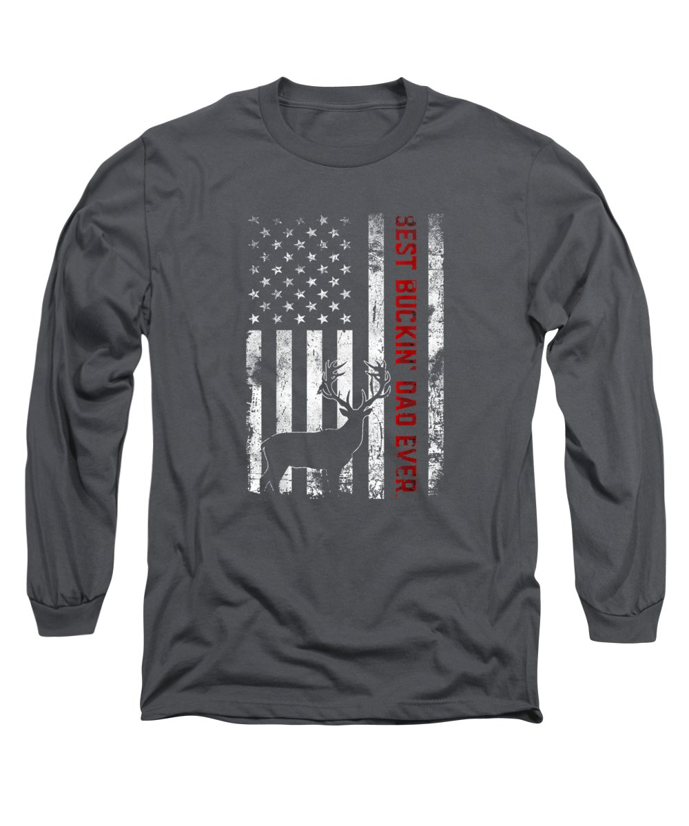 girls' Novelty T-shirts Long Sleeve T-Shirt featuring the digital art Usa Flag Best Buckin' Dad Ever Deer Hunting Fathers Day Gift by Do David