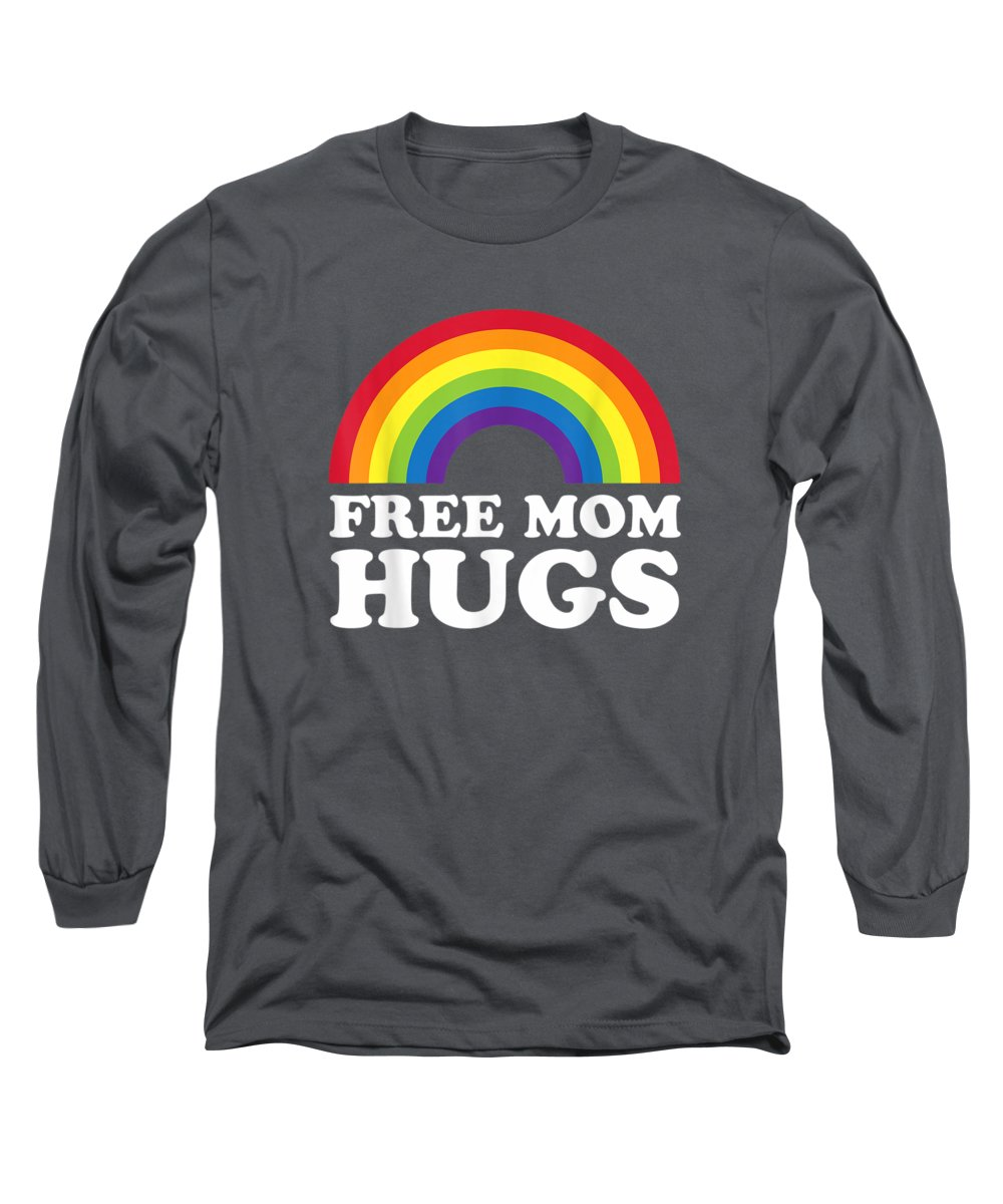 men's Novelty T-shirts Long Sleeve T-Shirt featuring the digital art Womens Free Mom Hugs Shirt - Lgbt Rainbow T-shirt by Unique Tees