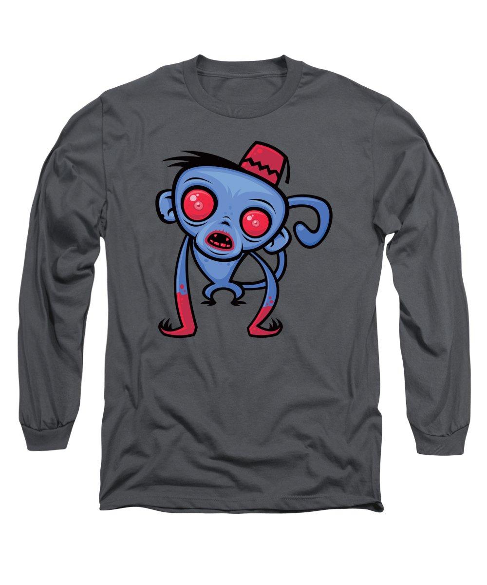 Monkey Long Sleeve T-Shirt featuring the digital art Zombie Monkey by John Schwegel