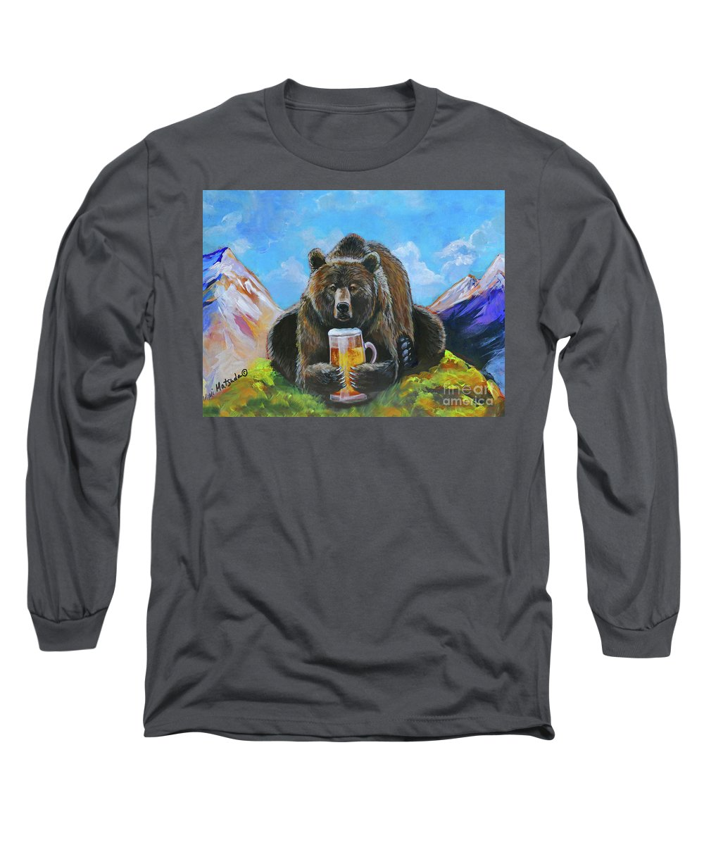 Bear Long Sleeve T-Shirt featuring the painting Bruin Brew by Mimi Matsuda