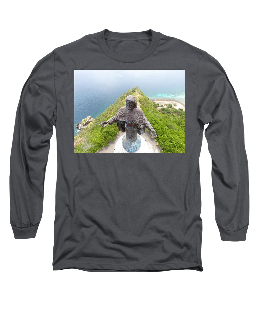 Adventure Long Sleeve T-Shirt featuring the photograph Cristo Rei of Dili statue of Jesus by Brthrjhn2099