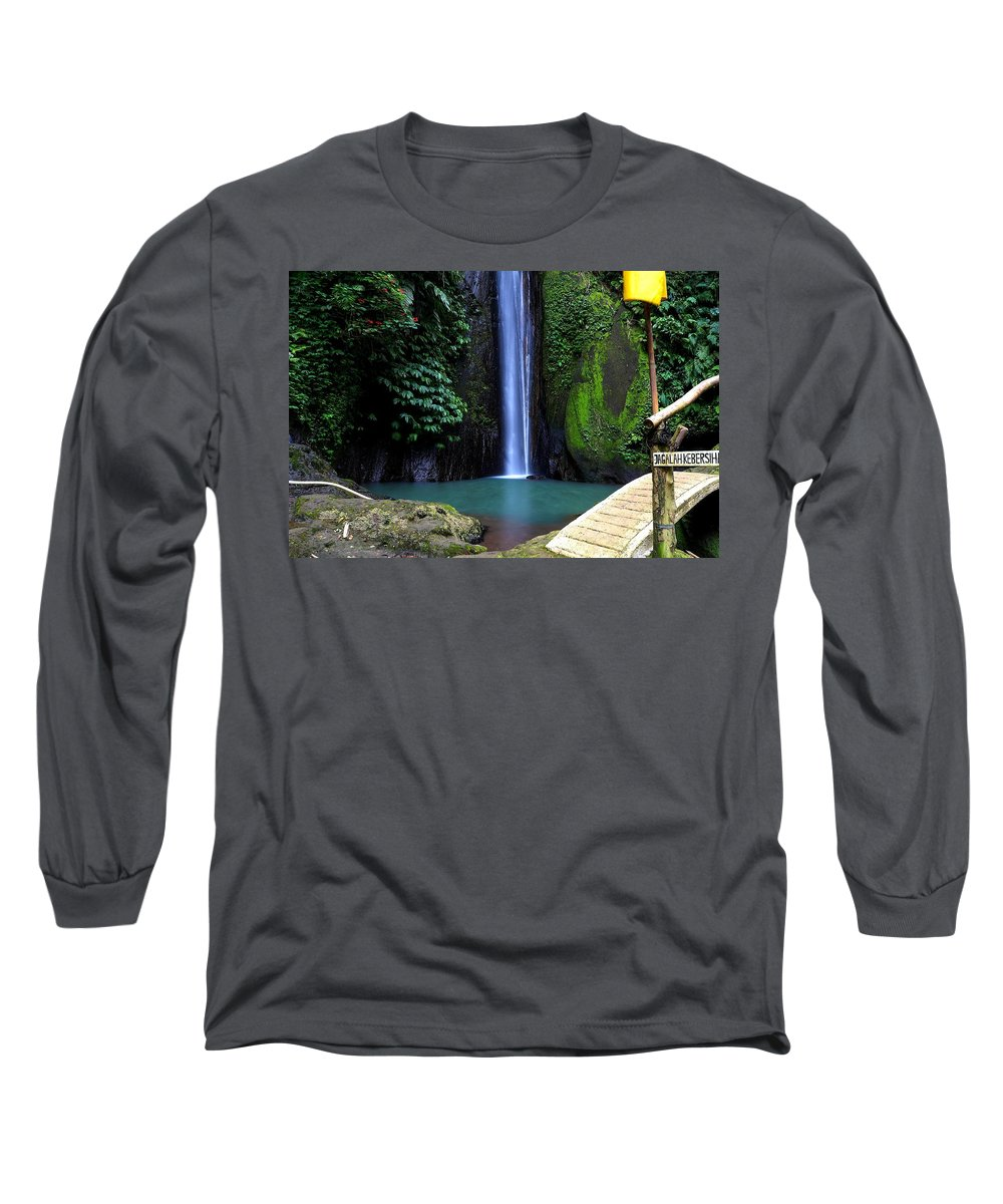 Waterfall Long Sleeve T-Shirt featuring the digital art Lonely waterfall by Worldvibes1