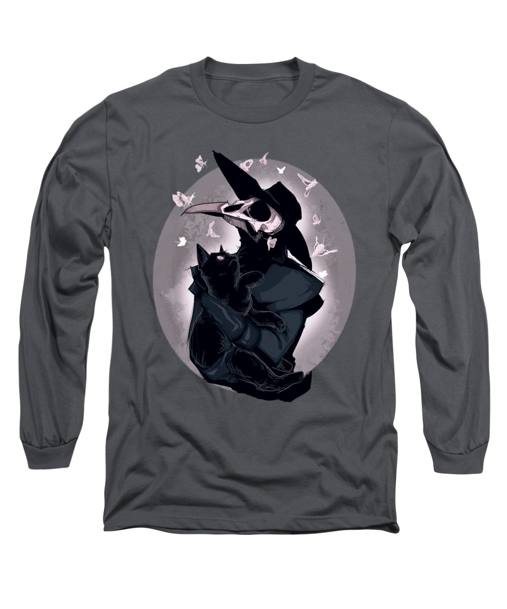 Plague Doctor Long Sleeve T-Shirt featuring the drawing Nocturnal by Ludwig Van Bacon