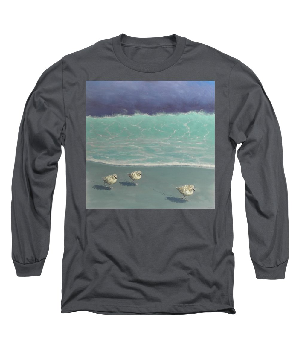 Sandpipers Long Sleeve T-Shirt featuring the painting Sandpipers by Paul Emig