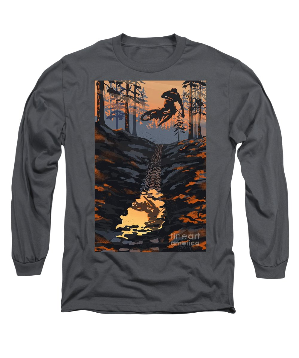 Cycling Art Long Sleeve T-Shirt featuring the painting Sunset Forest Dirt Jumper Mountain Biker by Sassan Filsoof