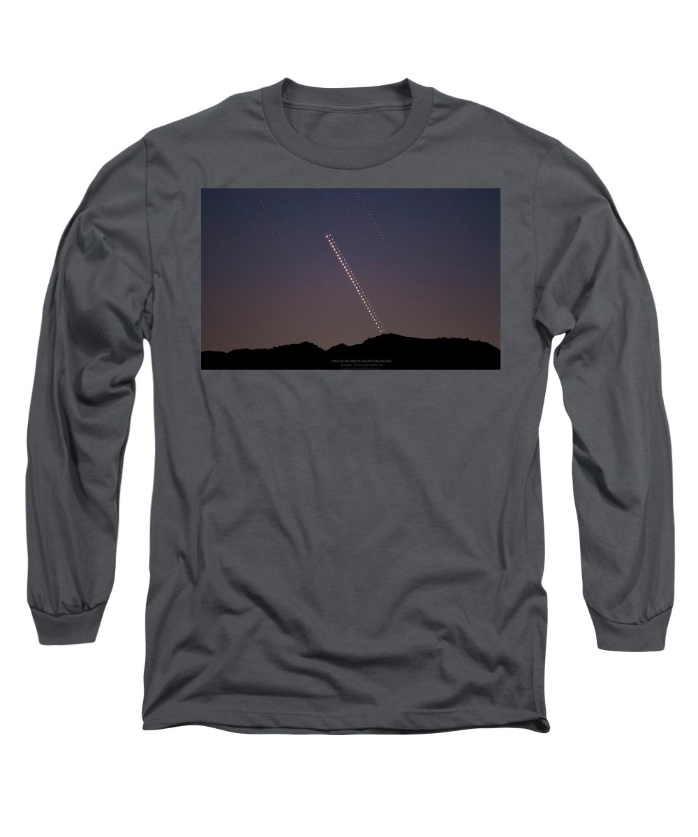 Long Sleeve T-Shirt featuring the photograph Trails of the Great Planetary Conjunction by Prabhu Astrophotography