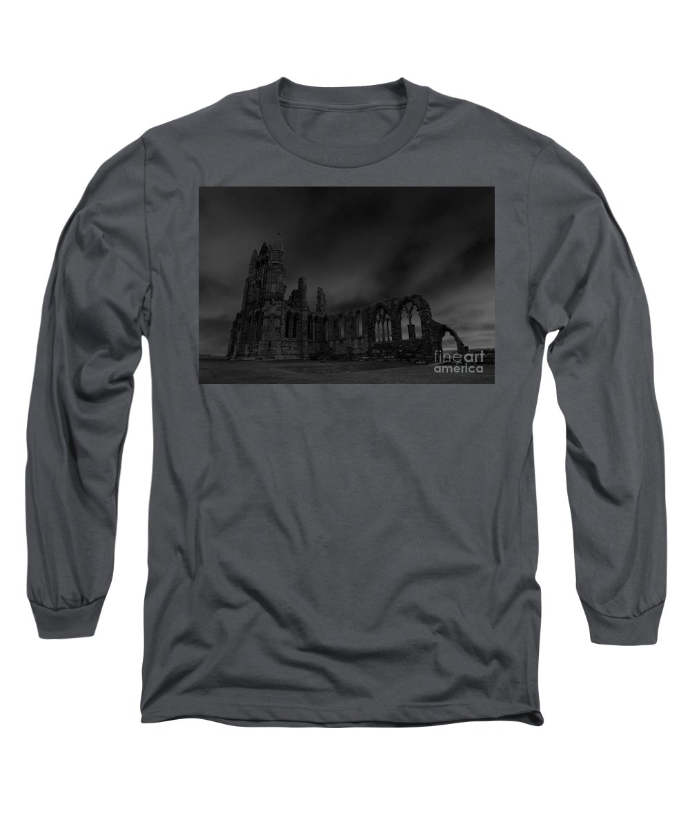 Whitby Abbey Long Sleeve T-Shirt featuring the photograph Whitby Abbey 1, monochrome by Paul Boizot