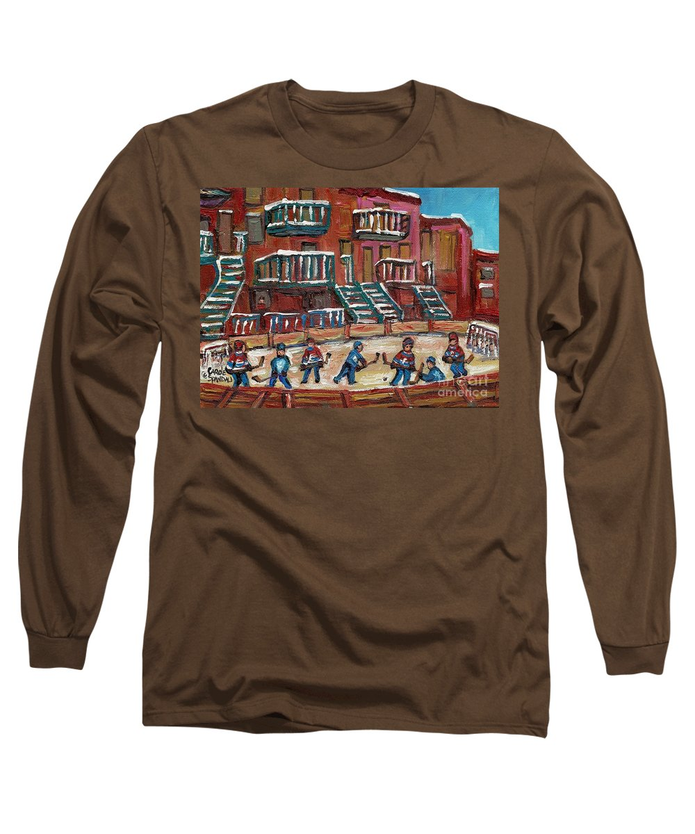Hockey Long Sleeve T-Shirt featuring the painting Gorgeous Day For A Game by Carole Spandau