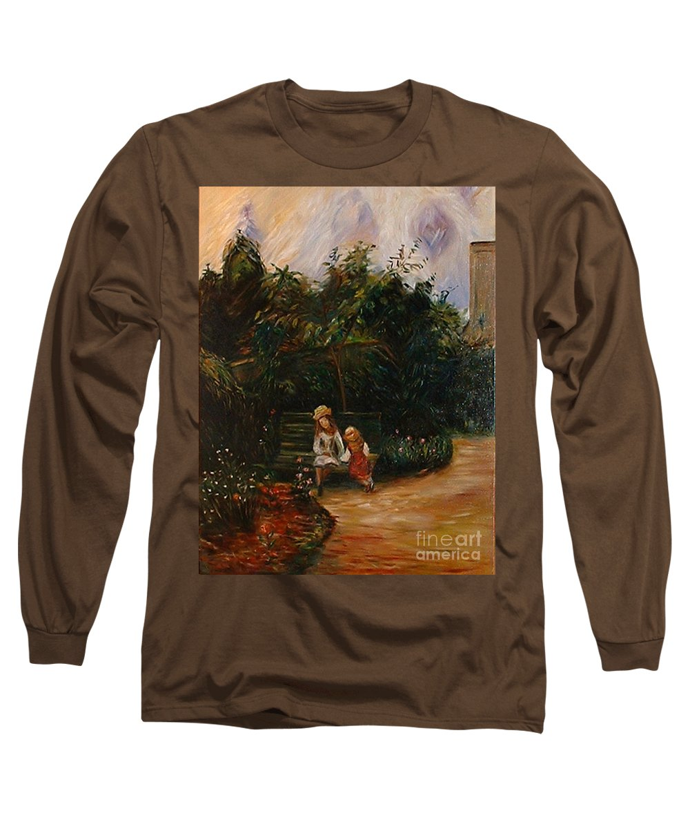 Classic Art Long Sleeve T-Shirt featuring the painting A Corner Of The Garden At The Hermitage by Silvana Abel
