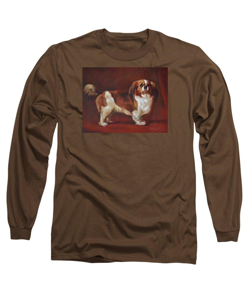 Pastel Long Sleeve T-Shirt featuring the painting A King Charles Spaniel by Iliyan Bozhanov