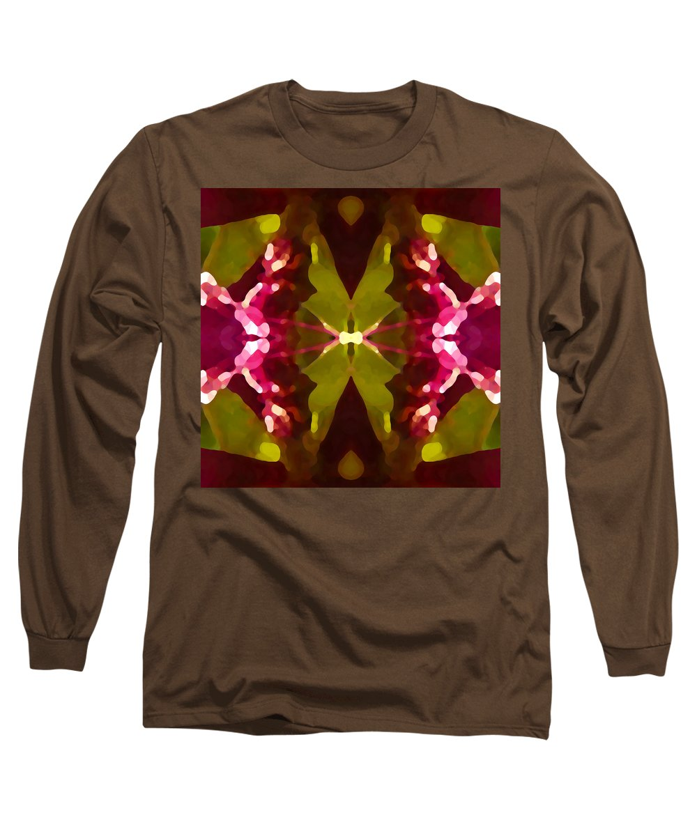 Contemporary Long Sleeve T-Shirt featuring the painting Abstract Crystal Butterfly by Amy Vangsgard