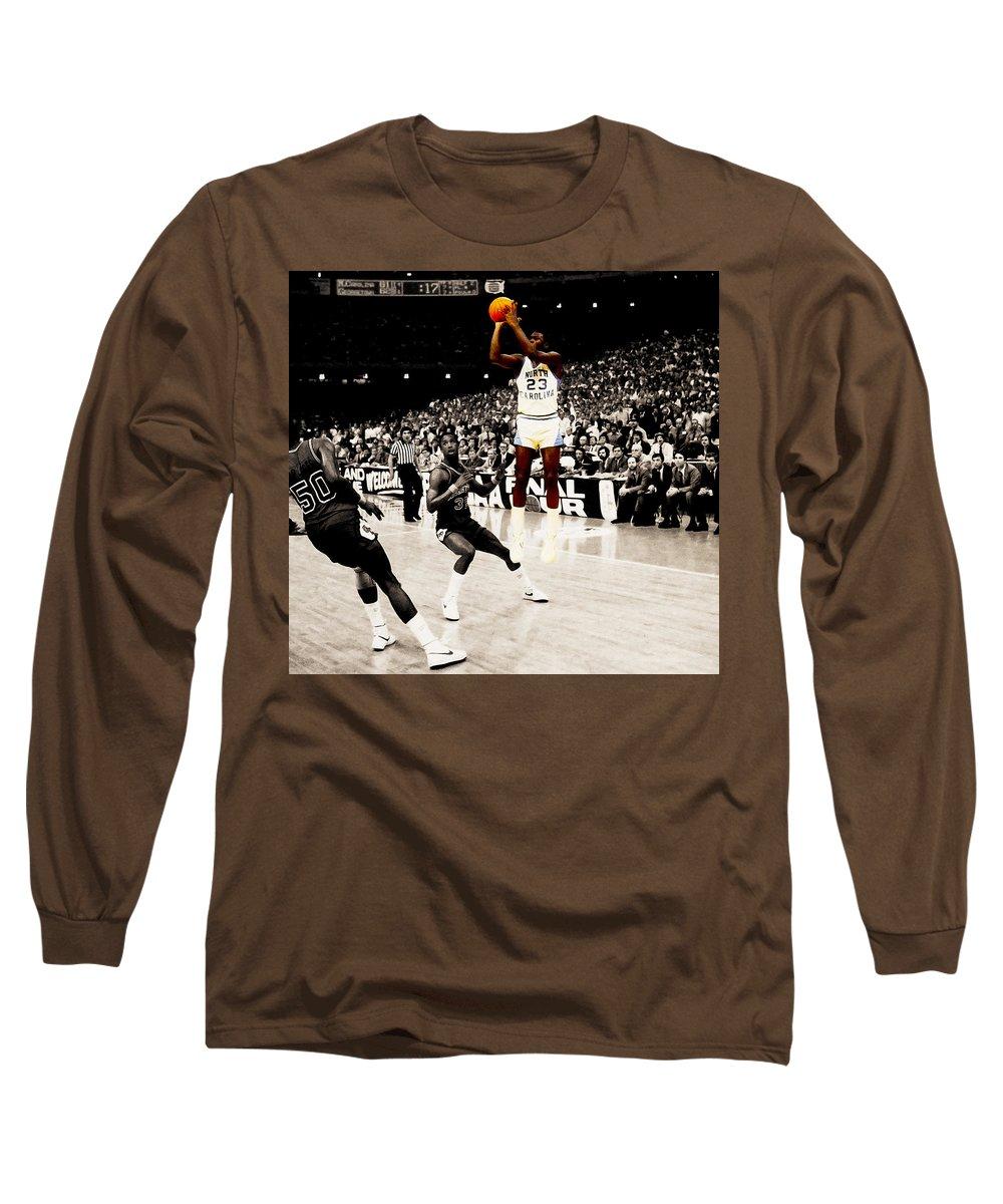 cd4375389475 Michael Jordan Long Sleeve T-Shirt featuring the digital art Air Jordan Unc Last  Shot