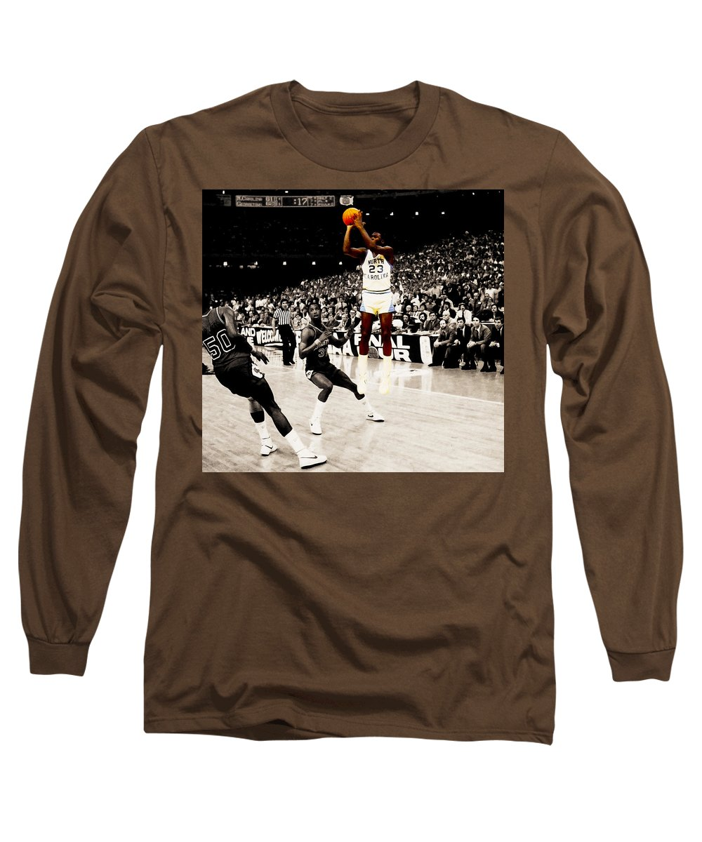 31af46be482280 Michael Jordan Long Sleeve T-Shirt featuring the digital art Air Jordan Unc  Last Shot