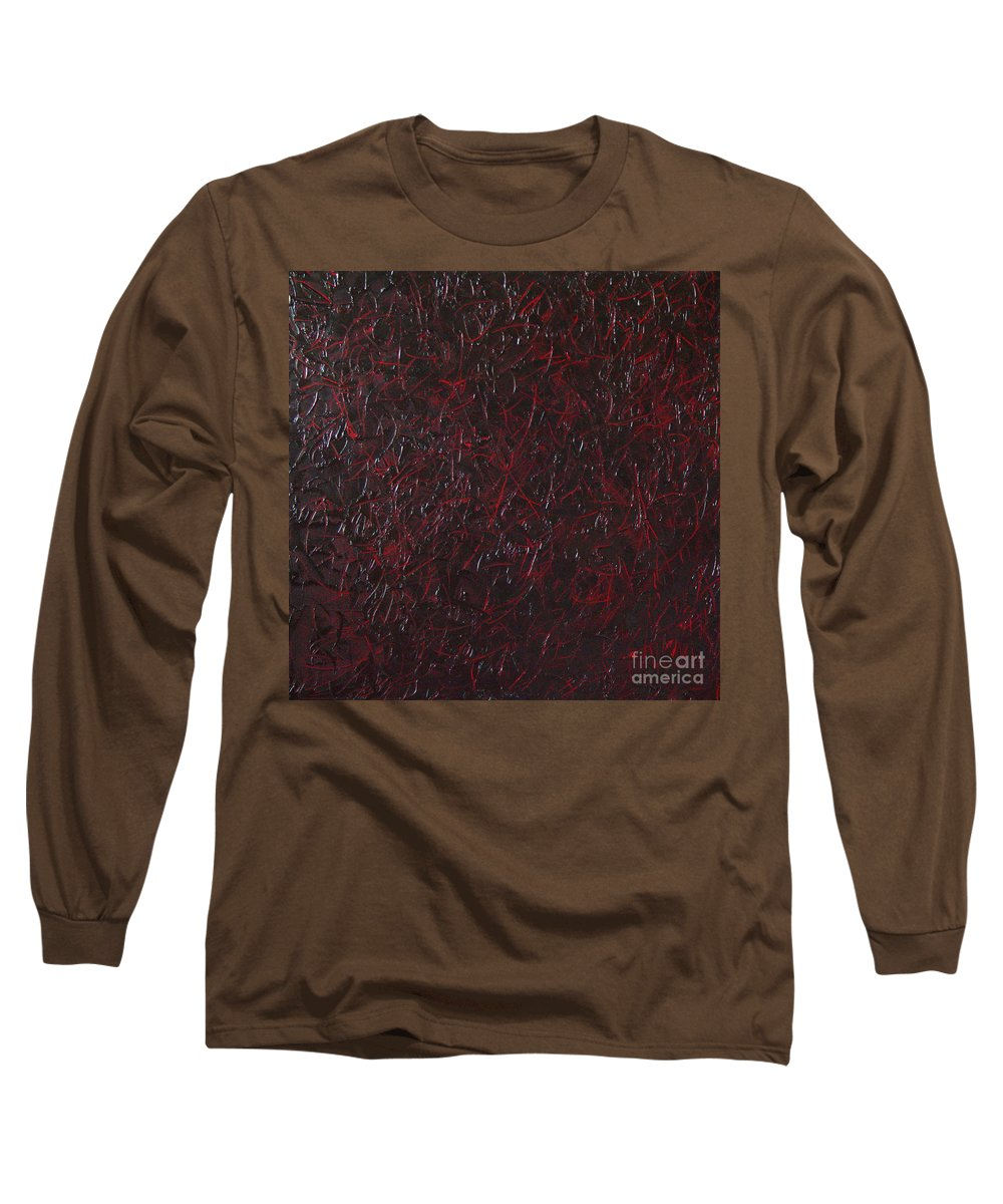 Abstract Long Sleeve T-Shirt featuring the painting Another Shedding by Dean Triolo