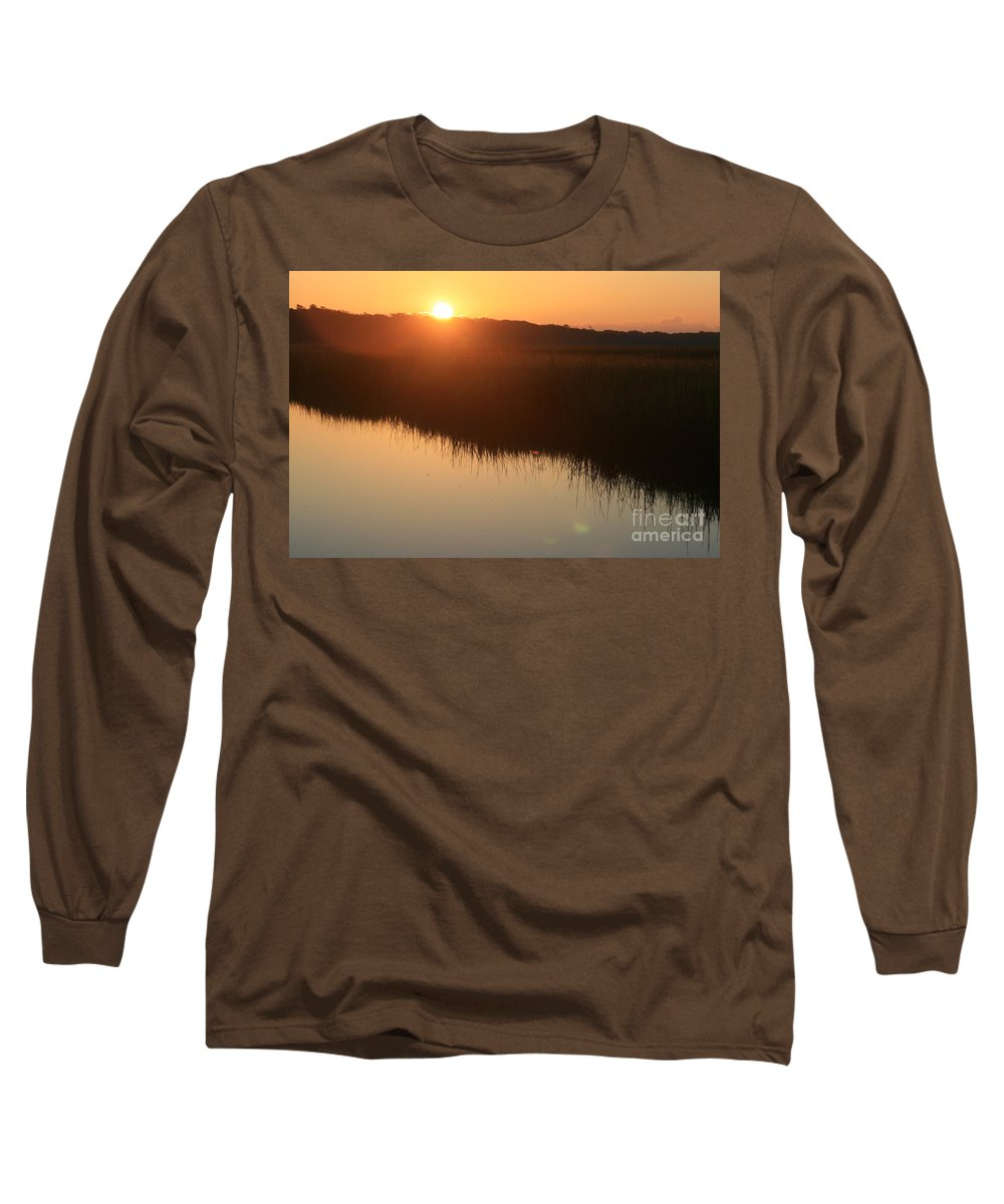 Sunrise Long Sleeve T-Shirt featuring the photograph Autumn Sunrise Over The Marsh by Nadine Rippelmeyer