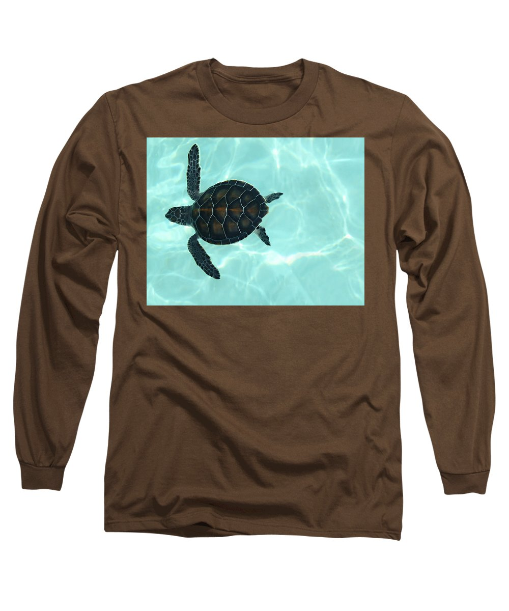 Baby Sea Turtle Long Sleeve T-Shirt featuring the photograph Baby Sea Turtle by Ellen Henneke