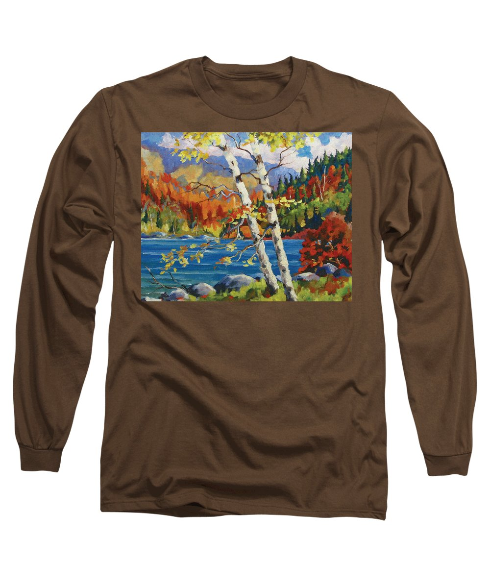Art Long Sleeve T-Shirt featuring the painting Birches By The Lake by Richard T Pranke