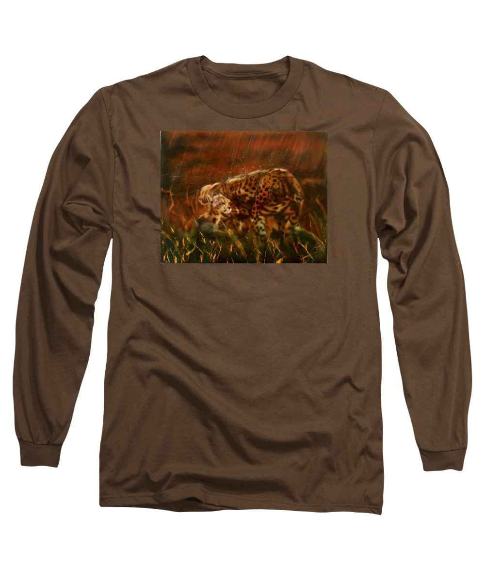 Rain;water;cats;africa;wildlife;animals;mother;shelter;brush;bush Long Sleeve T-Shirt featuring the painting Cheetah Family After The Rains by Sean Connolly