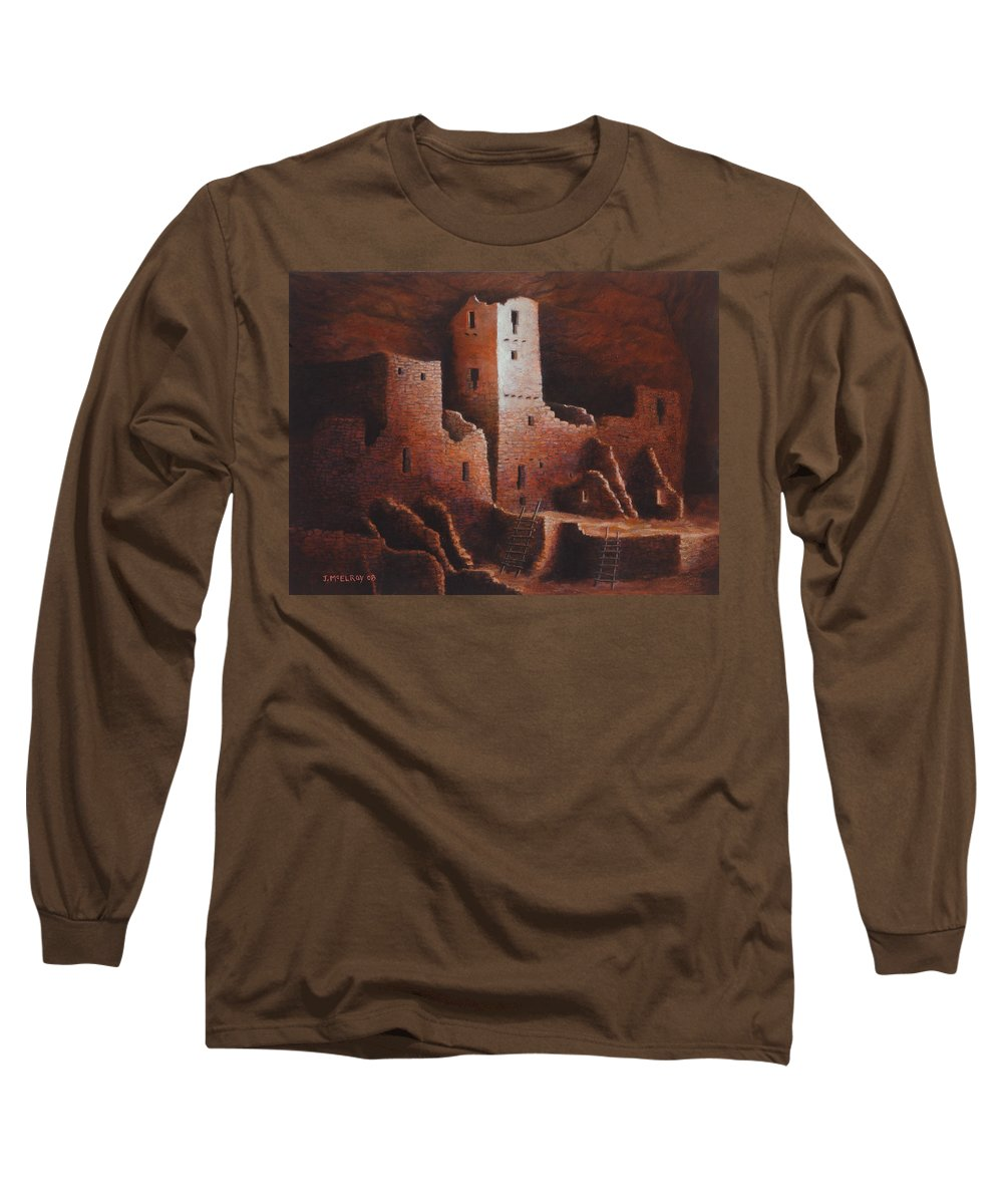 Anasazi Long Sleeve T-Shirt featuring the painting Cliff Palace by Jerry McElroy