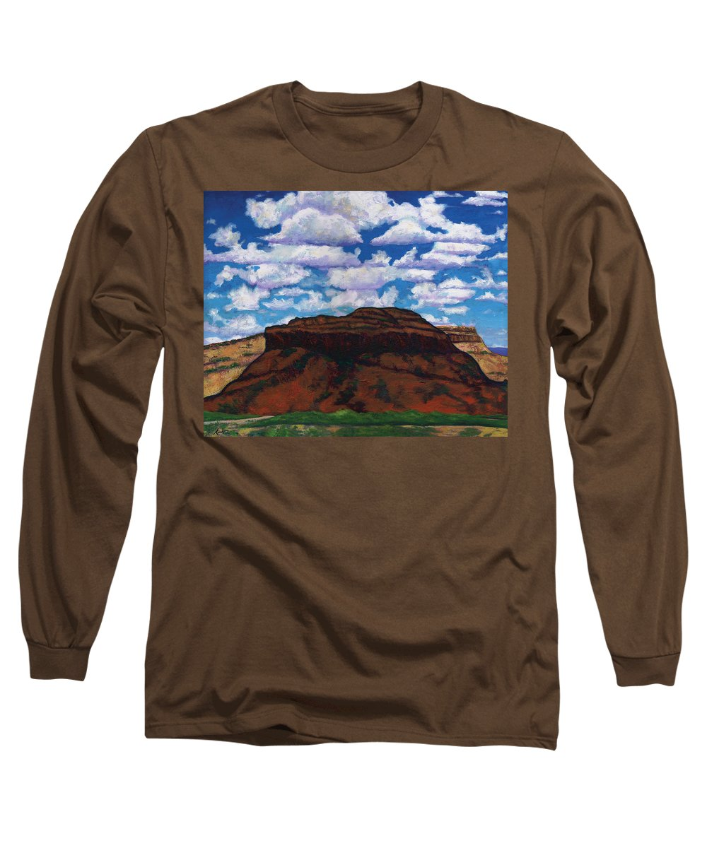 Lanscape Long Sleeve T-Shirt featuring the painting Clouds Over Red Mesa by Joe Triano