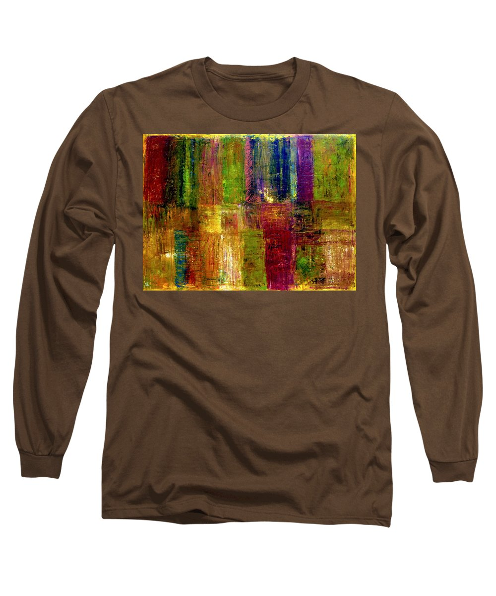 Abstract Long Sleeve T-Shirt featuring the painting Color Panel Abstract by Michelle Calkins