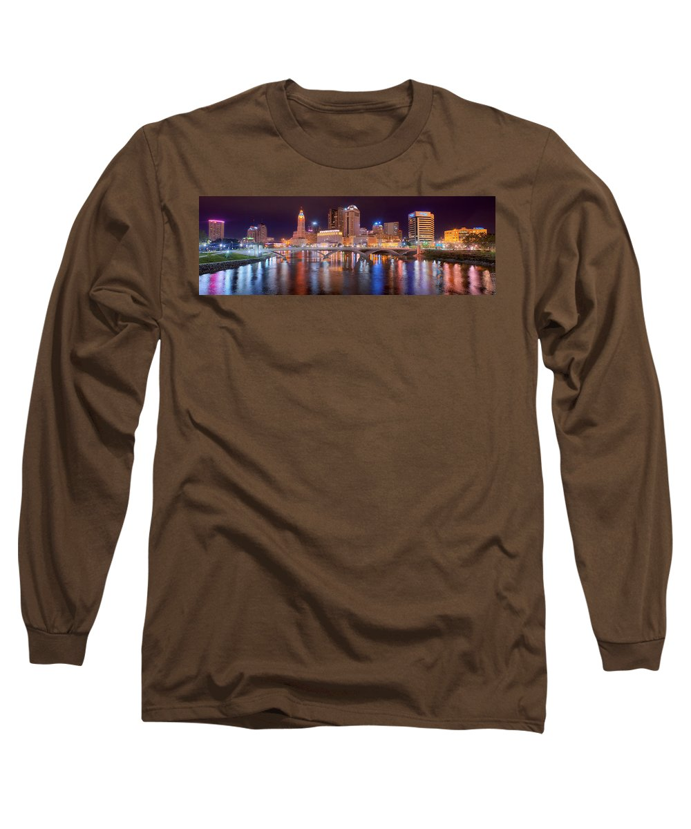 Columbus Skyline Long Sleeve T-Shirt featuring the photograph Columbus Skyline At Night Color Panorama Ohio by Jon Holiday