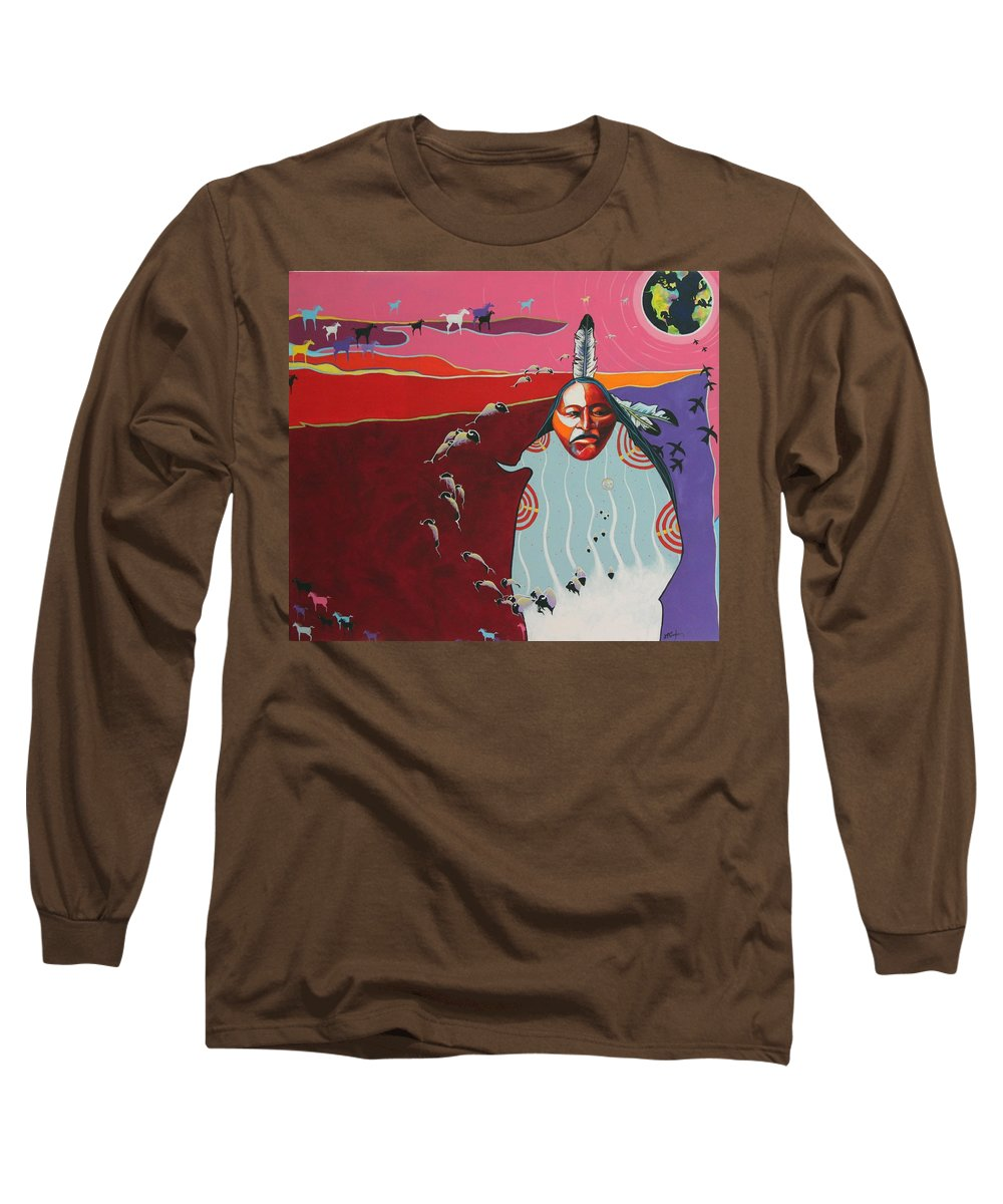 Native American Long Sleeve T-Shirt featuring the painting Creation by Joe Triano