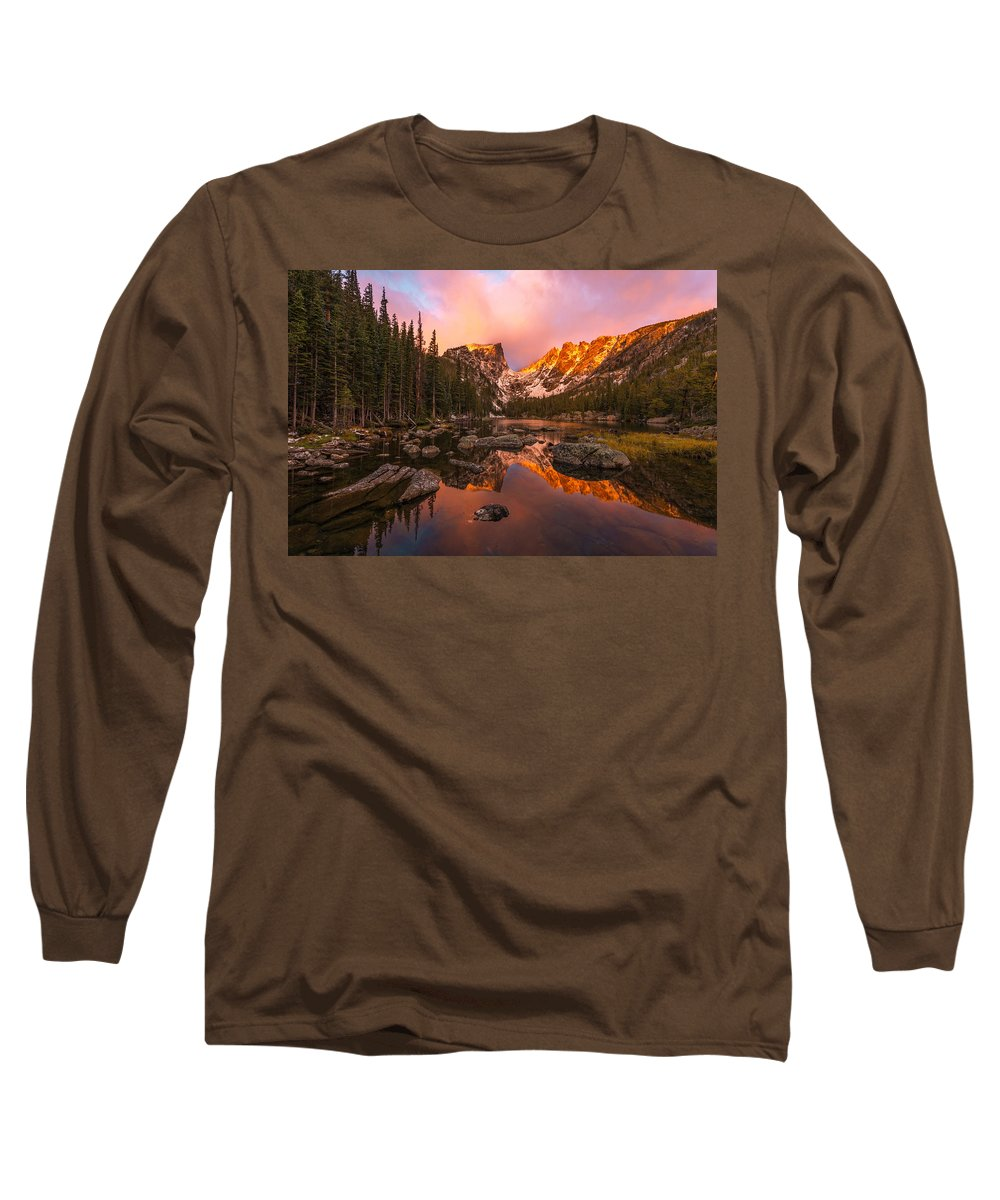 Dream Lake Long Sleeve T-Shirt featuring the photograph Dawn Of Dreams by Dustin LeFevre