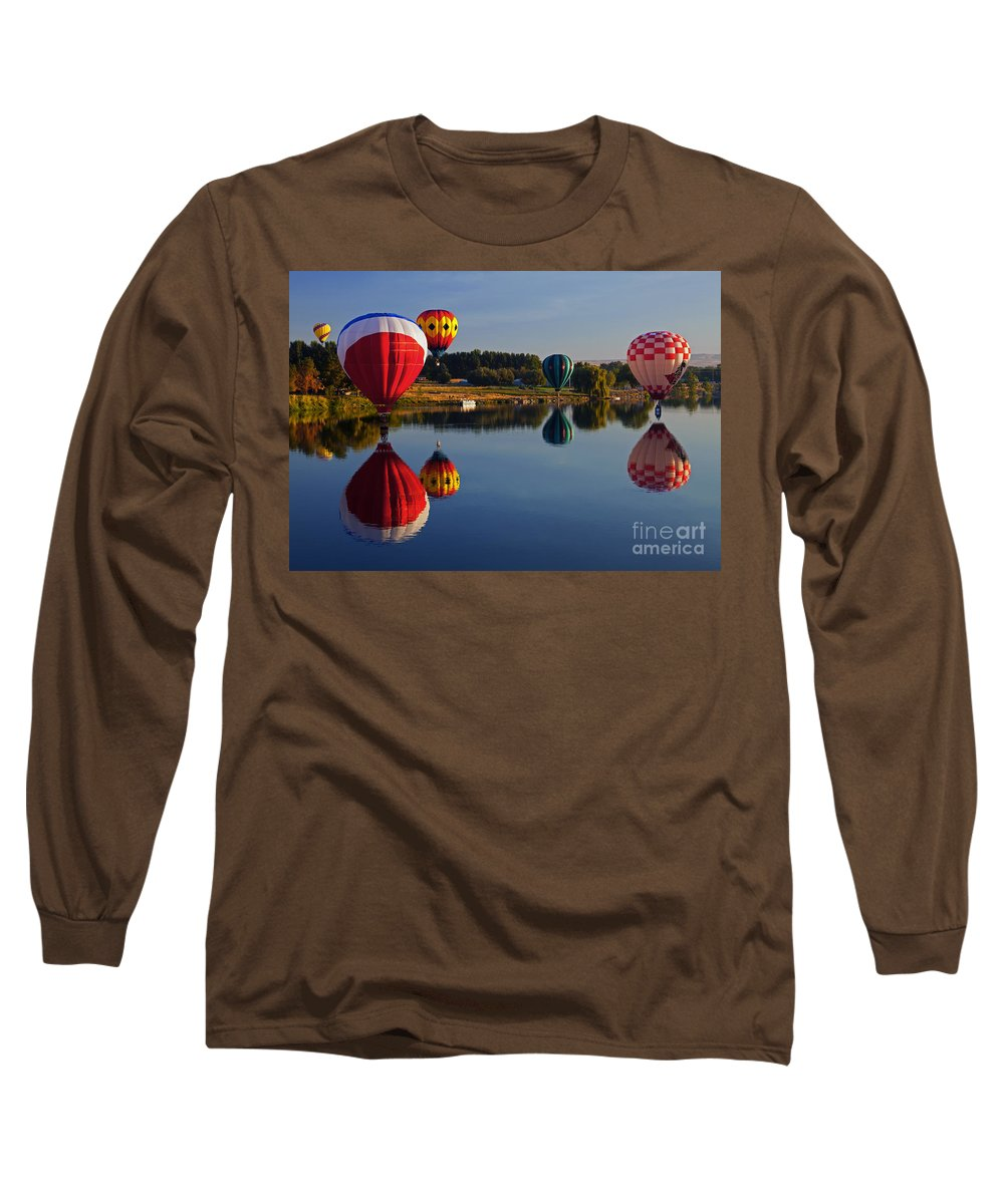 Balloons Long Sleeve T-Shirt featuring the photograph Five Aloft by Mike Dawson