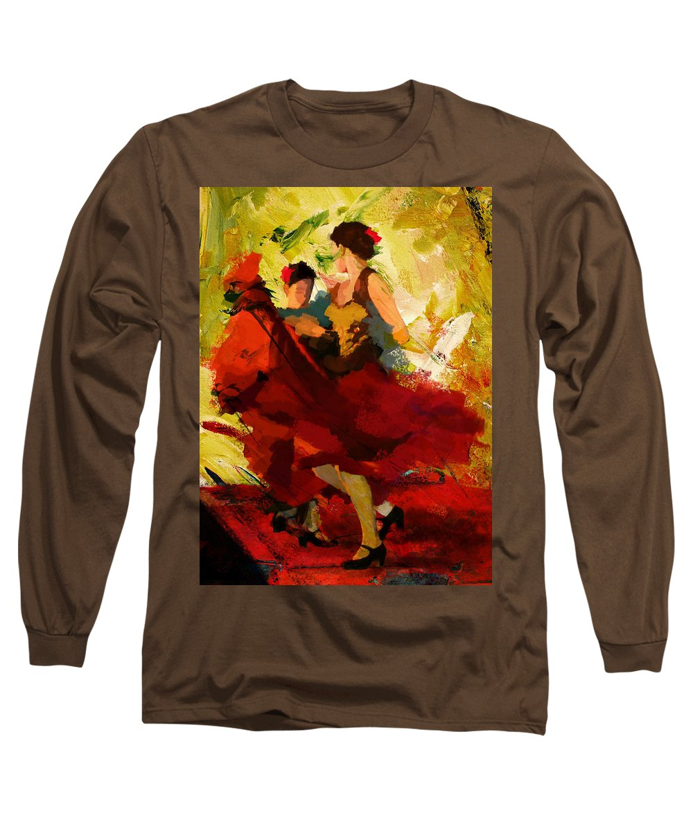 Jazz Long Sleeve T-Shirt featuring the painting Flamenco Dancer 019 by Catf