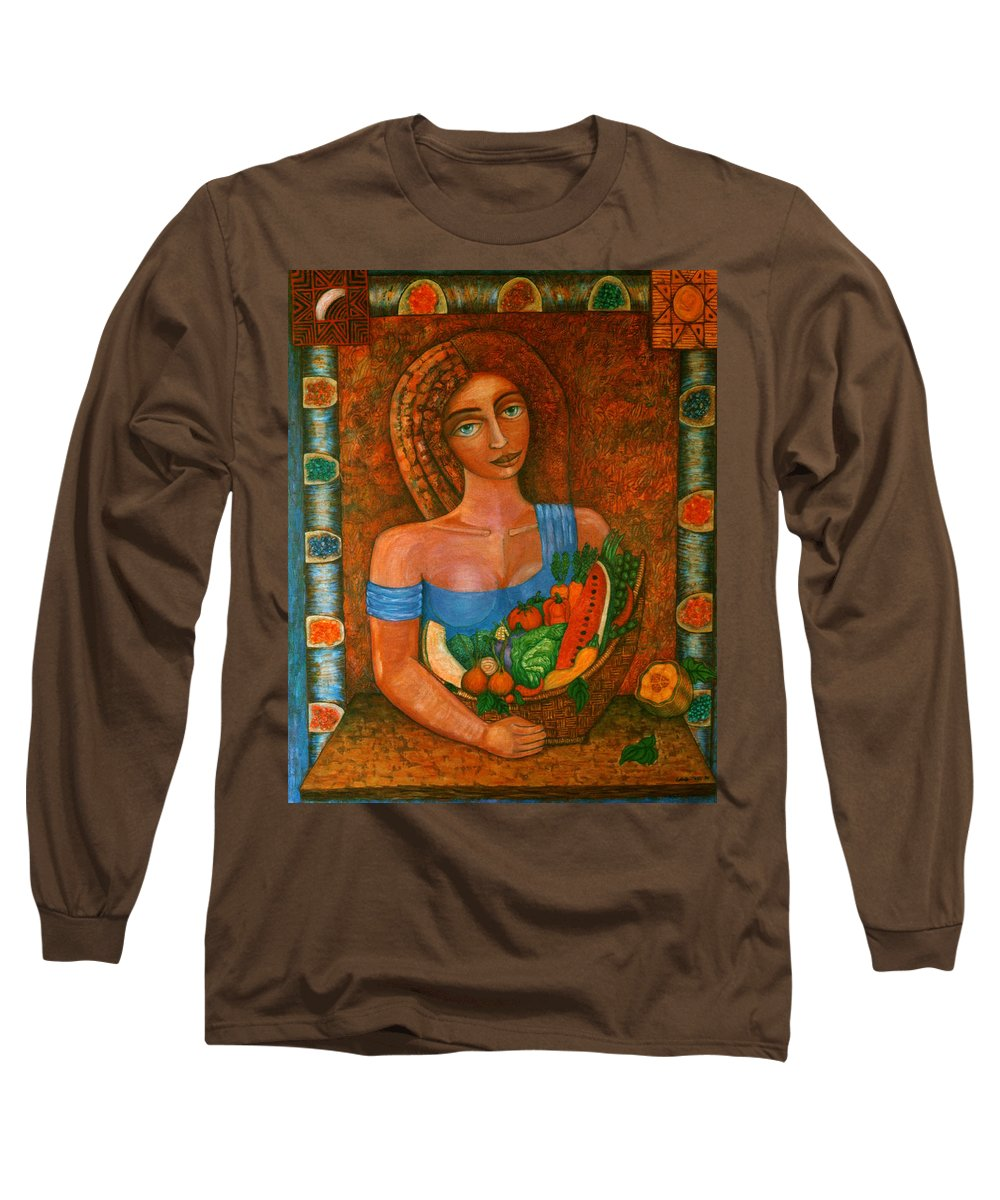 Acrylic Long Sleeve T-Shirt featuring the painting Flora - Goddess Of The Seeds by Madalena Lobao-Tello
