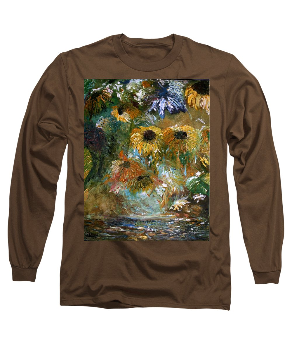 Flowers Long Sleeve T-Shirt featuring the painting Flower Rain by Jack Diamond