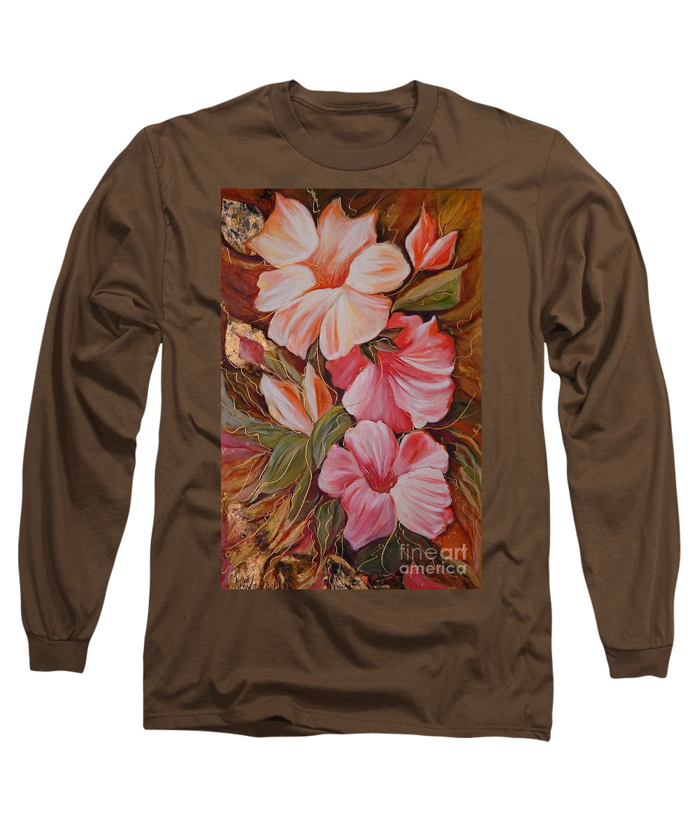 Modern Art Long Sleeve T-Shirt featuring the painting Flowers II by Silvana Abel