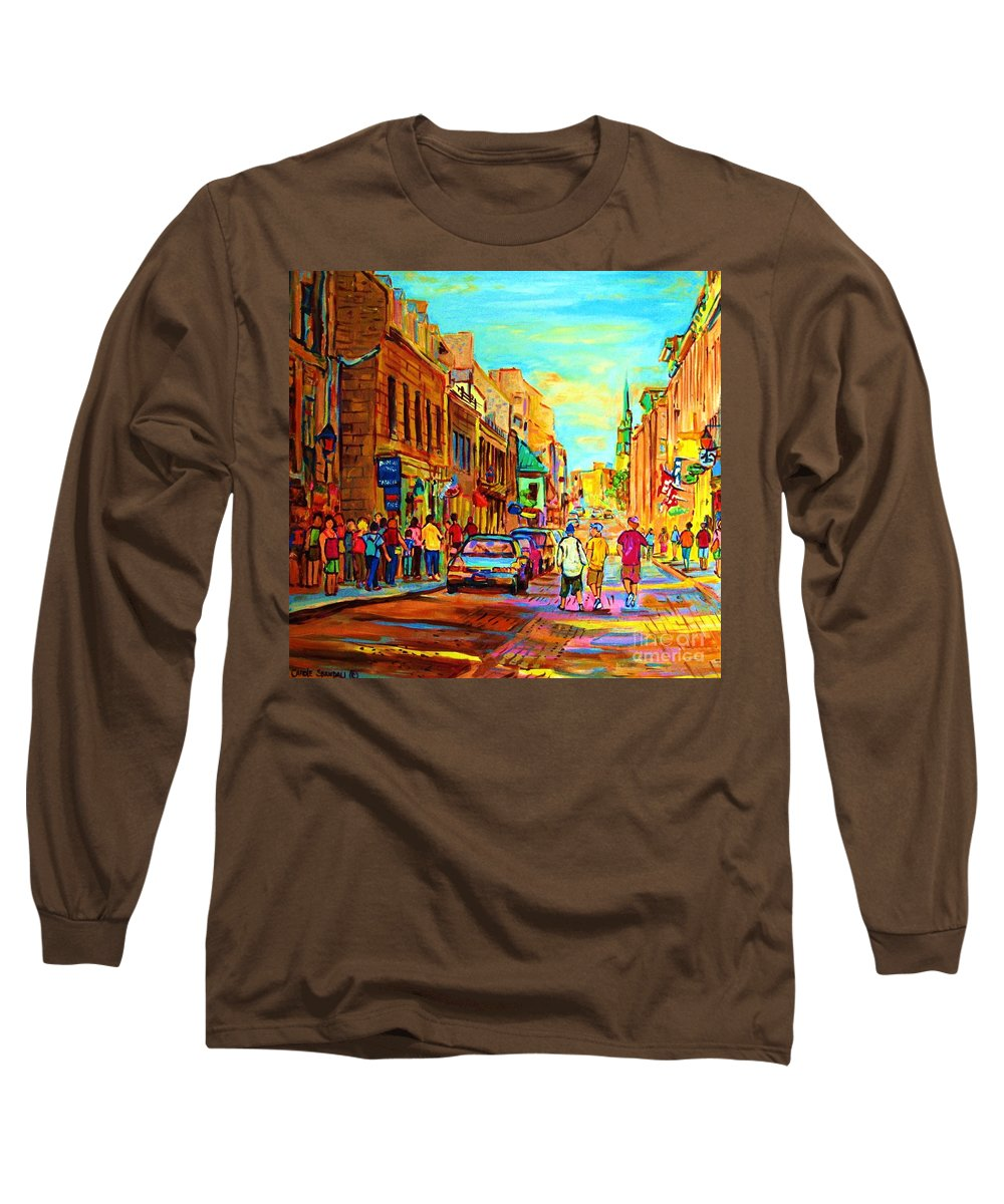 Montreal Long Sleeve T-Shirt featuring the painting Follow The Yellow Brick Road by Carole Spandau