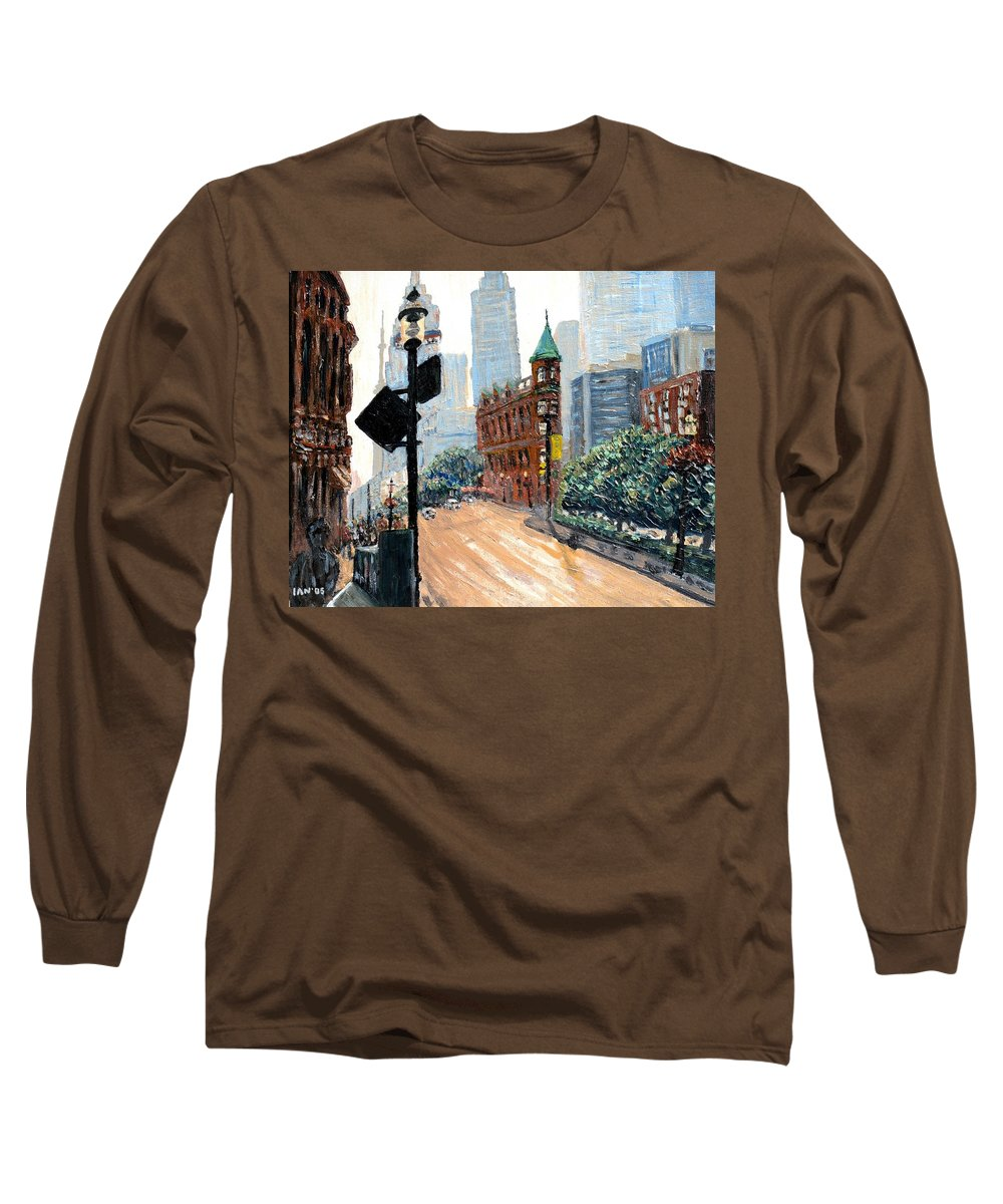 Toronto Long Sleeve T-Shirt featuring the painting Front And Church by Ian MacDonald
