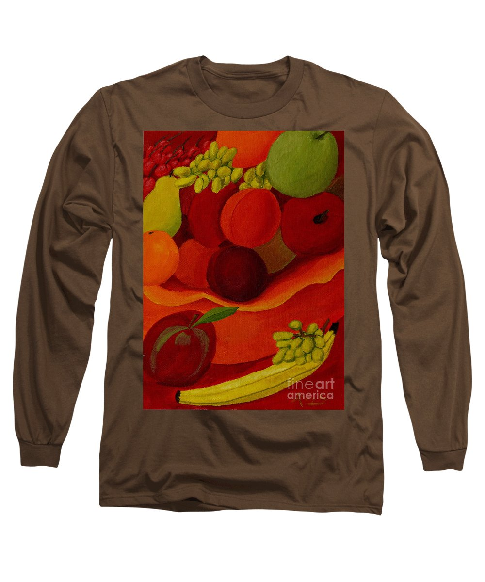 Fruit Long Sleeve T-Shirt featuring the painting Fruit-still Life by Anthony Dunphy
