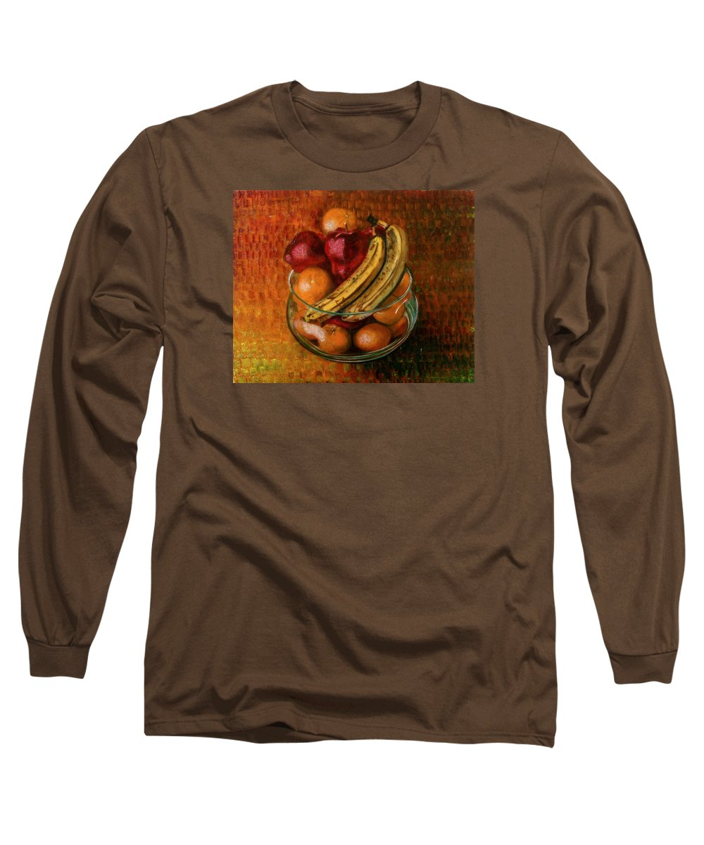 Still Life Long Sleeve T-Shirt featuring the painting Glass Bowl Of Fruit by Sean Connolly