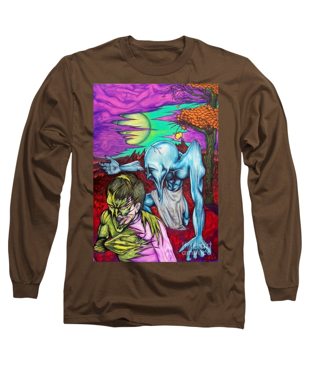 Tmad Long Sleeve T-Shirt featuring the drawing Growing Evils by Michael TMAD Finney